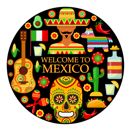 Colorfull traditional Mexican attributes on black background. Vector illustration Illustration
