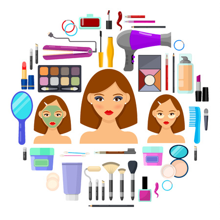 Colorful tools for makeup and beauty on white background.Vector illustration. Illustration