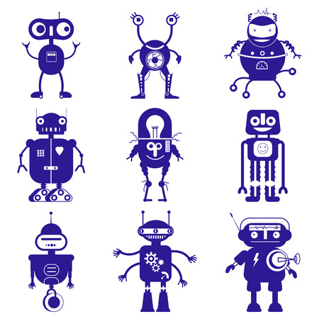 Set of cute robots in flat style on white background