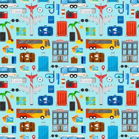 Colorful seamless pattern for travel in flat style on blue background Vectores