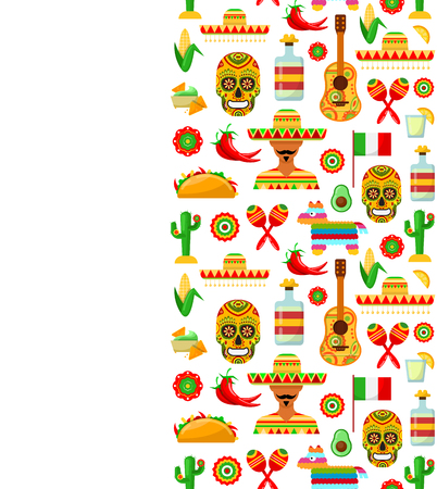 Seamless pattern with traditional Mexican attributes on white backgrounds