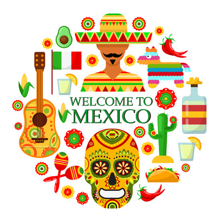 Colorfull traditional Mexican attributes on white background. Vector illustration