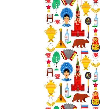 Seamless pattern with traditional Russian attributes on white backgrounds