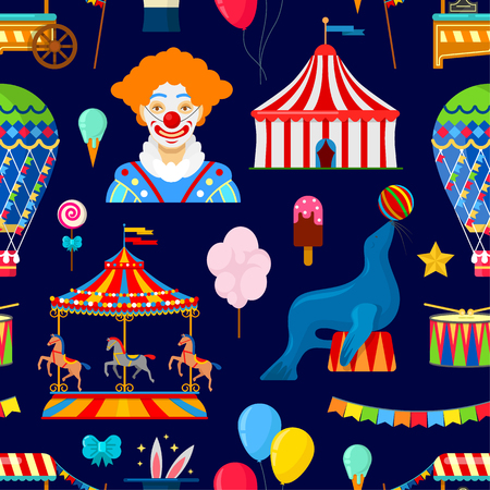 Seamless pattern with circus and amusement elements in flat style on dark background