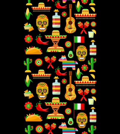 Seamless pattern with traditional Mexican attributes on black backgrounds