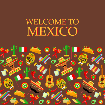 Seamless pattern with traditional Mexican attributes on brown backgrounds
