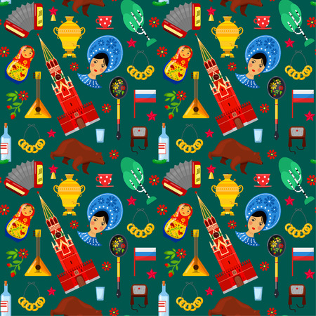 Seamless pattern with traditional Russian attributes on green backgrounds