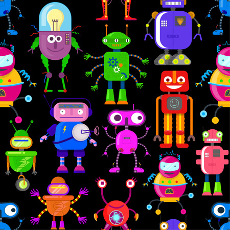 Seamless pattern with cute robots in flat style on black background Illustration