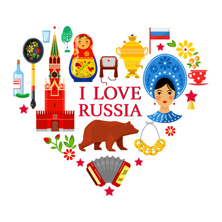 Russian attributes in shape of heart on white backgrounds Illustration