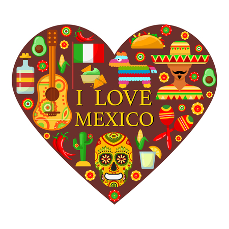 Mexican attributes in shape of heart on white backgrounds Illustration