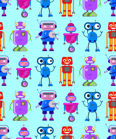 Seamless pattern with cute robots in flat style on blue background