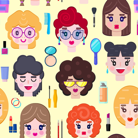 Seamless pattern with girls faces and cosmetics on yellow background.Vector illustration.