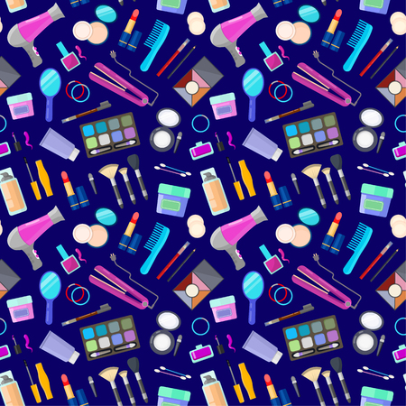Colorful seamless pattern of tools for makeup and beauty on black background
