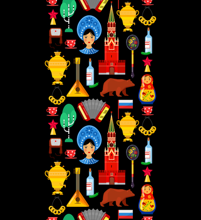 Seamless pattern with traditional Russian attributes on black backgrounds Illustration
