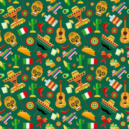Seamless pattern with traditional Mexican attributes on greenbackgrounds
