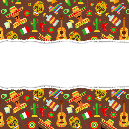 Pattern with traditional Mexican attributes on brown background