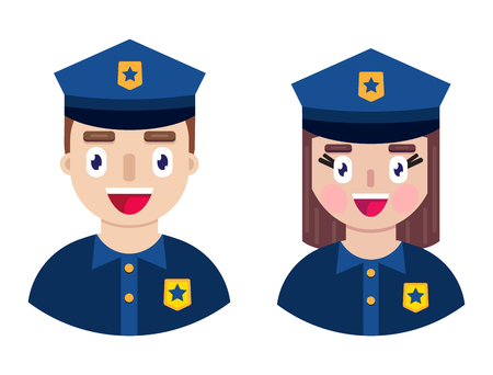 Cheerful and happy police officers on white background. Vector illustration