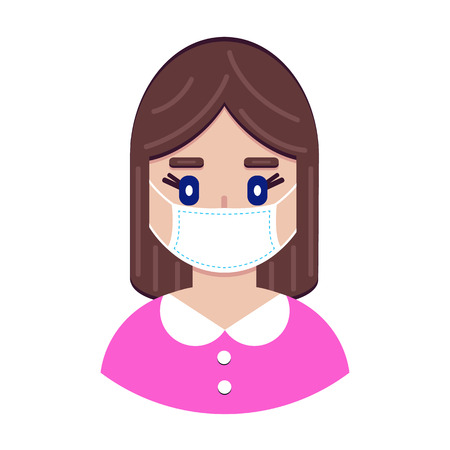 Vector illustration of girl in protective medical mask on white background
