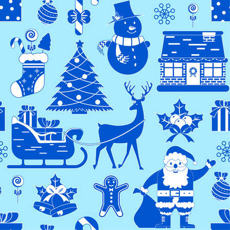 Seamless pattern with Christmas decoration on blue background.Vector illustration.