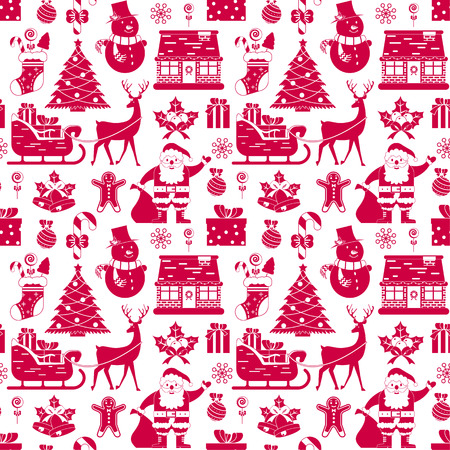 Seamless pattern with Christmas decoration on white background