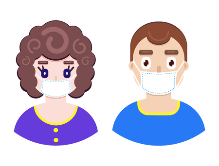 Vector illustration of boy and girl in protective medical mask on white background