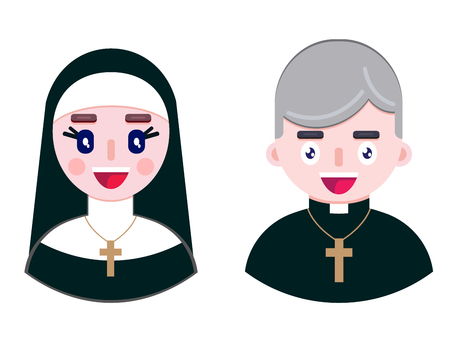 Cheerful priest and happy nun on white background. Vector illustration