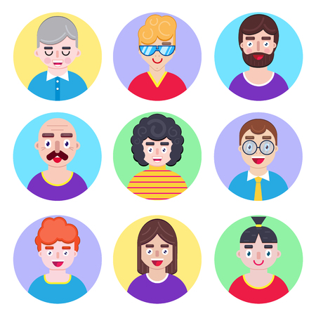 Set of boys avatars in flat style on white background Ilustracja