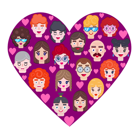 Romantic heart with boys and girls faces. Card for Valentines day