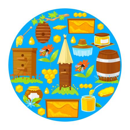 Vector illustration of cartoon elements of beekeeping on blue background. Ilustración de vector