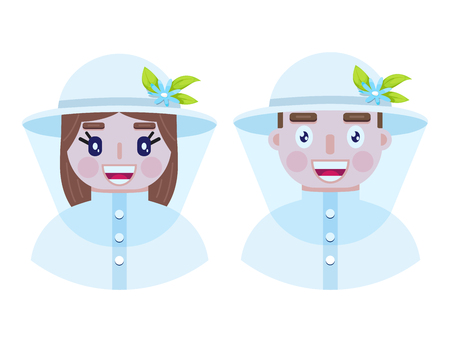 Happy and cheerful beekepers in protective clothes on white background.Vector illustration. Vecteurs