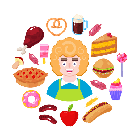 Cheerful seller and fast food on white background. Supermarket worker. Vector illustration Illustration