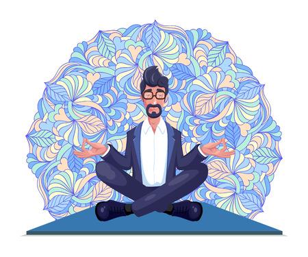 Businessman meditates sitting on carpet .Vector illustration.