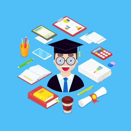 Científico feliz con papelería, libros, bolígrafo, lápiz, calculadora sobre fondo azul.