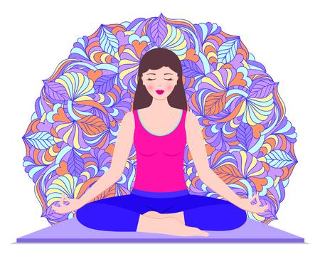 Young woman meditates sitting on carpet .Vector illustration. Illusztráció