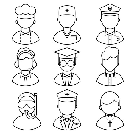 Set of icons of people occupation on white background