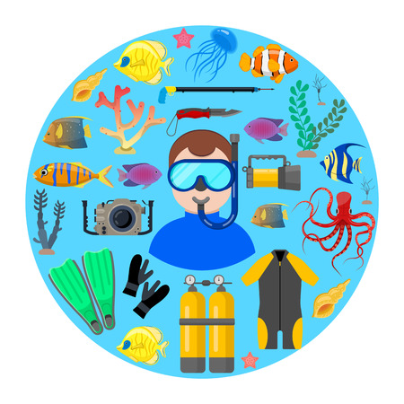 Diver with diving equipment and ocean animals on blue background. Vector illustration.