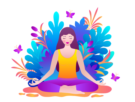 Young woman meditates sitting in lotus pose.Vector illustration Illusztráció