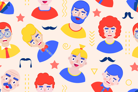 Seamless pattern with men on pastel background.