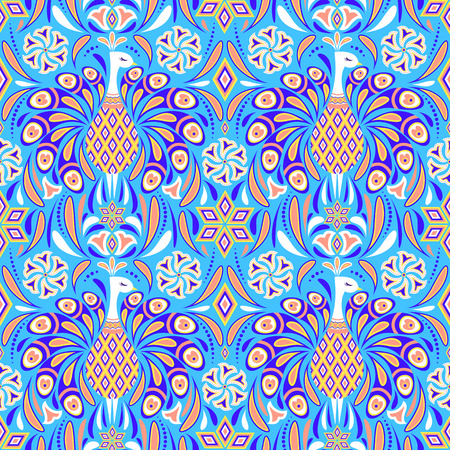 Seamless pattern with peacocks and abstract flowers on blue background. It be perfect for stationery, clothing, accessories, invitation cards, packaging and more.