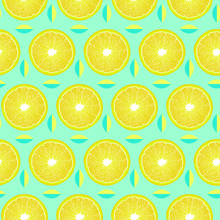 Seamless pattern with lemon slices and leaves on mint background. Surface pattern.It be perfect for fabric, wrapping,packaging, digital paper and more.