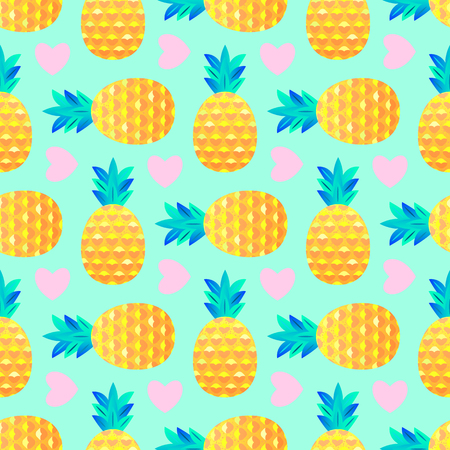 Seamless pattern with pineapples and hearts on mint background. Surface pattern.It be perfect for fabric, wrapping,packaging, digital paper and more. 向量圖像