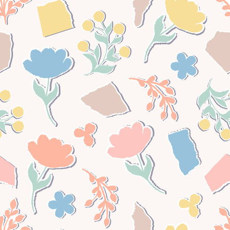 Seamless pattern with paper flowers on pastel background