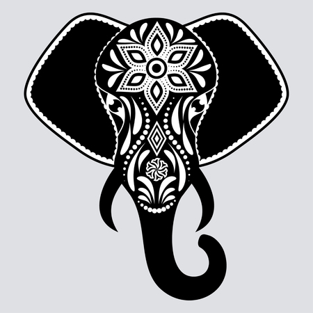 Black elephant with white abstract flowers on gray background