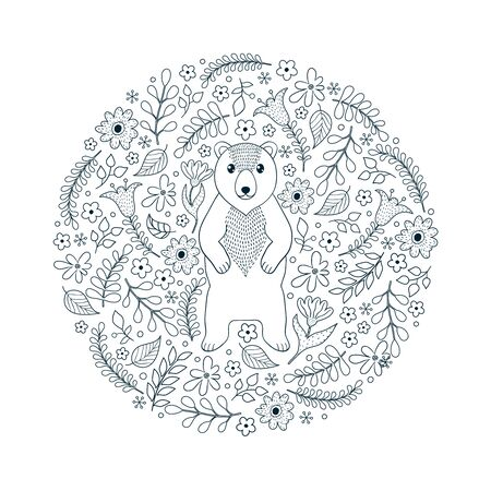 Hand drawn pattern with bear and flowers on white background