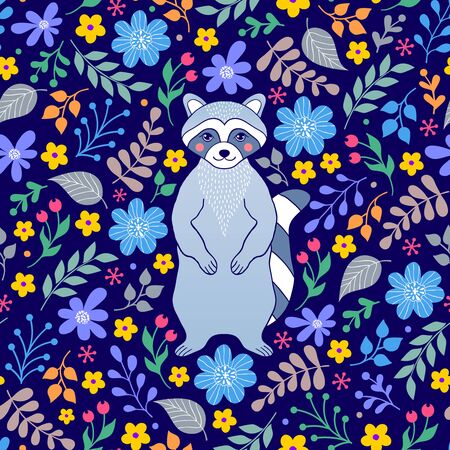 Seamless pattern with raccoon and flowers on dark blue background