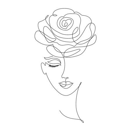 Portrait of young girl on white background.One line drawing style.