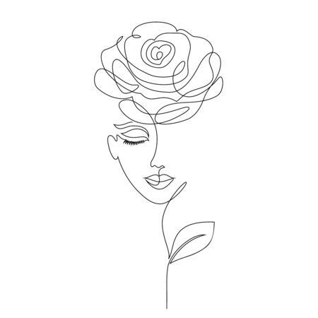 Chica rosa sobre fondo blanco Estilo de dibujo de una línea.