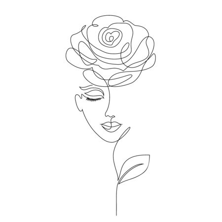 Rose girl on white background.One line drawing style.
