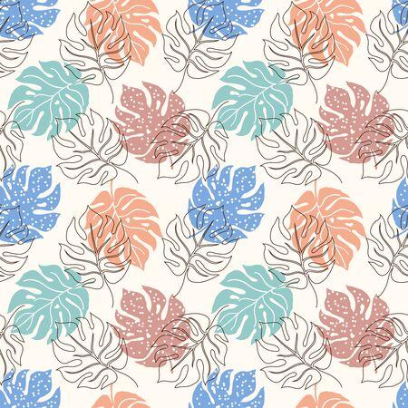 Seamless pattern with monstera leaves.It be perfect for wrapping,packaging,wallpaper,fabric, digital paper and more Ilustrace