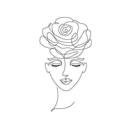 Portrait of young girl on white background.One line drawing style.Tattoo idea. Vetores